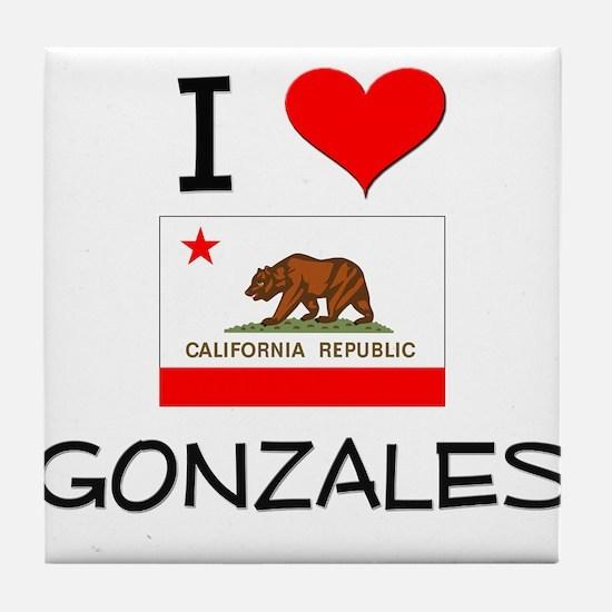 I Love Gonzales California Tile Coaster