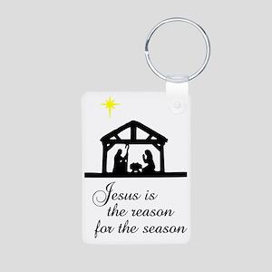 Jesus Is The Reason Nativi Aluminum Photo Keychain