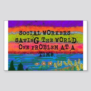 SOCIAL WORKERS SAVING THE WORLD Sticker