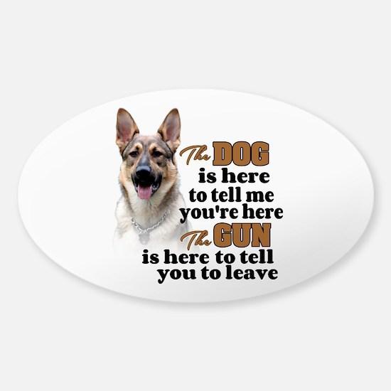 Beware of Dog/Gun (German Shepherd) Sticker (Oval)