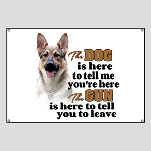 Beware of Dog/Gun (German Shepherd) Banner