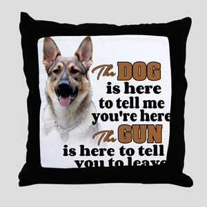 Beware of Dog/Gun (German Shepherd) Throw Pillow