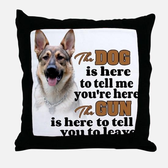 Beware of Dog/Gun (German Shepherd) Throw Pillow
