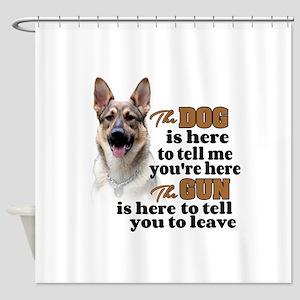 Beware Of Dog Gun German Shepherd Shower Curtain