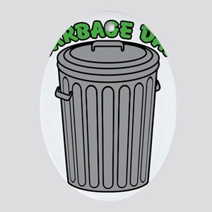 Garbage Day Trash Can Ornament (Oval)