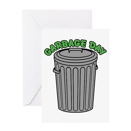 Garbage Day Trash Can Greeting Cards