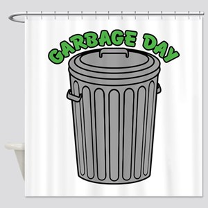 Garbage Day Trash Can Shower Curtain