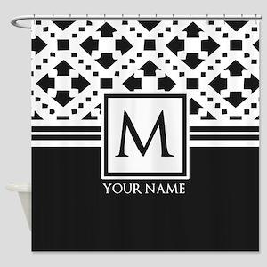 Simple Pattern Black Monogram Shower Curtain