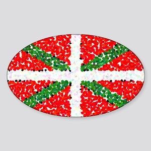 Basque Flag Pointillized Oval Sticker