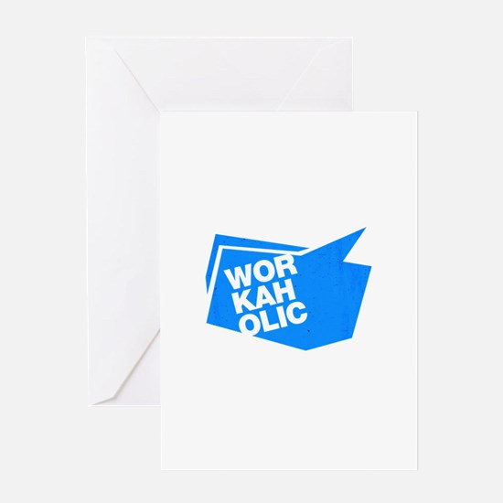workaholic blue Greeting Cards