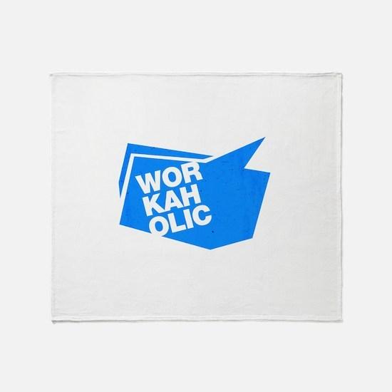 workaholic blue Throw Blanket