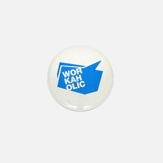 workaholic blue Mini Button