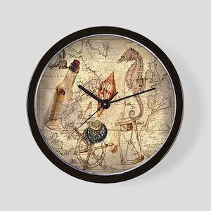 nautical seashells vintage map Wall Clock
