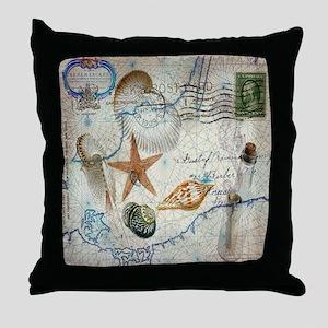 nautical seashells vintage map Throw Pillow