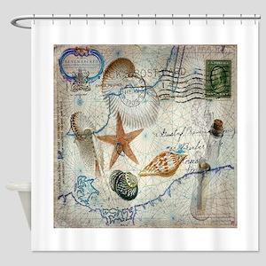 nautical seashells vintage map Shower Curtain