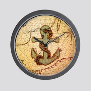 natical anchor vintage voyage  Wall Clock