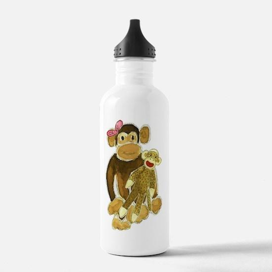 Monkey and Sock Monkey Water Bottle