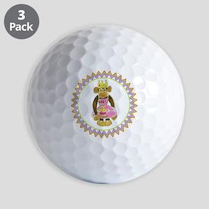 Princess Monkey Pink Cake 3 Candles Zig Golf Balls