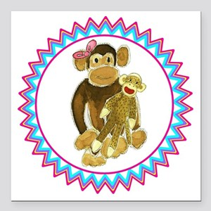 "Monkey Pink Bow Sock Mon Square Car Magnet 3"" x 3"""