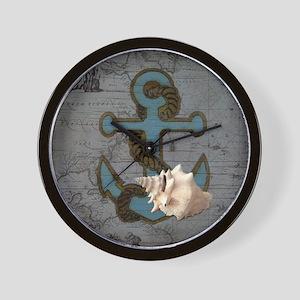 natical anchor beach Wall Clock