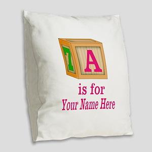 Custom Pink Block Burlap Throw Pillow