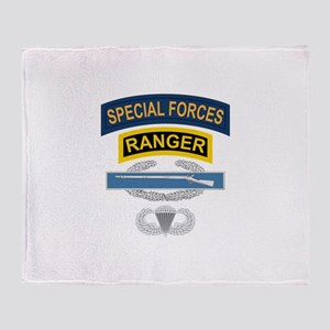 SF Ranger CIB Airborne Throw Blanket