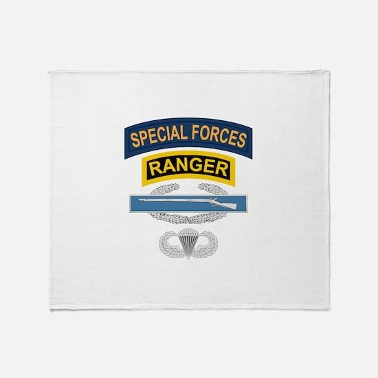 SF Ranger CIB Airborne Throw Blanket