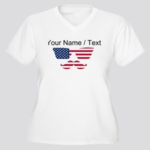 Custom American Flag Mustache Face Plus Size T-Shi