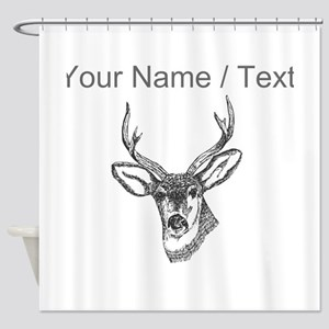 Custom Stag Sketch Shower Curtain