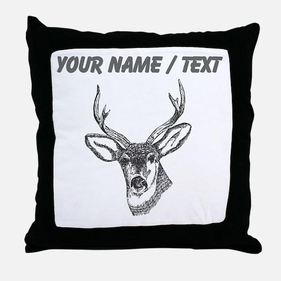 Custom Stag Sketch Throw Pillow