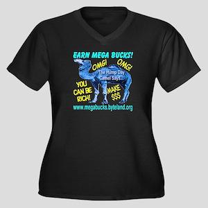 MegaBucks Camel Women's Plus Size V-Neck Dark T-Sh