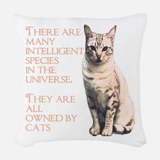 cats and intelligence Woven Throw Pillow