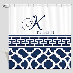 Navy Blue Quatrefoil Pattern Shower Curtain