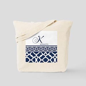 Navy Blue Quatrefoil Pattern Tote Bag