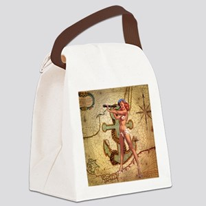 nautical  beach girl Canvas Lunch Bag