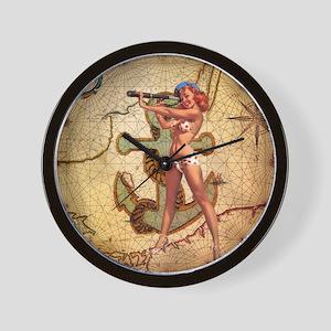 nautical  beach girl Wall Clock