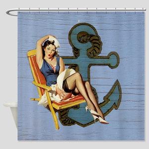 nautical beach girl Shower Curtain