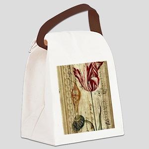 vintage tulip botanical art Canvas Lunch Bag