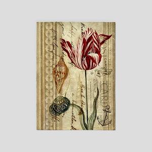 vintage tulip botanical art 5'x7'Area Rug