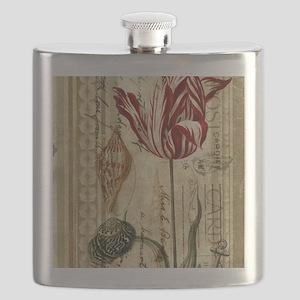 vintage tulip botanical art Flask