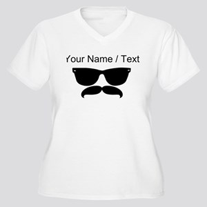 Custom Sunglasses Mustache Plus Size T-Shirt