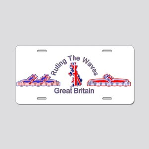 Ruling the waves GB wide Aluminum License Plate