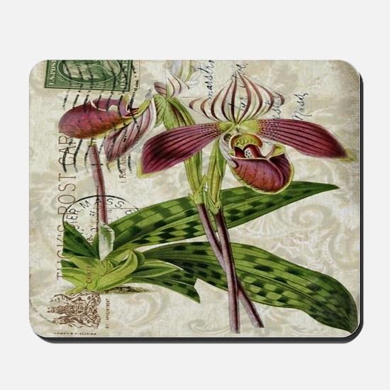 vintage orchid botanical art Mousepad