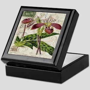vintage orchid botanical art Keepsake Box