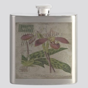 vintage orchid botanical art Flask