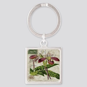 vintage orchid botanical art Square Keychain