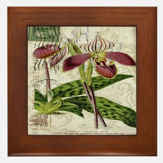 vintage orchid botanical art Framed Tile