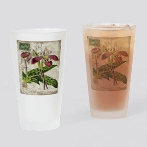 vintage orchid botanical art Drinking Glass
