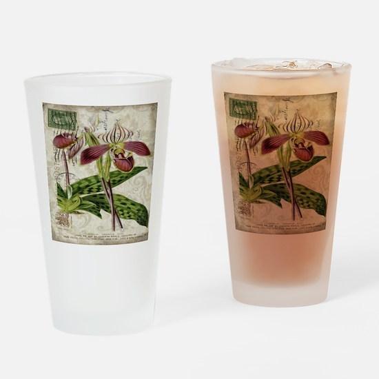vintage orchid botanical art Drinking Glass