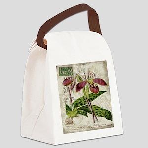 vintage orchid botanical art Canvas Lunch Bag